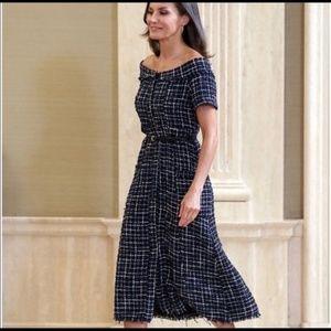 NWT Zara Tweed Midi Dress Off Shoulder- M and L